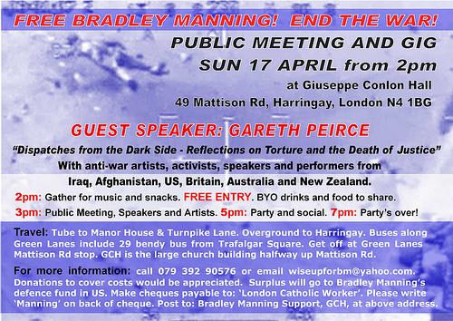 London Catholic Worker event for Bradley Manning 17th April (back)