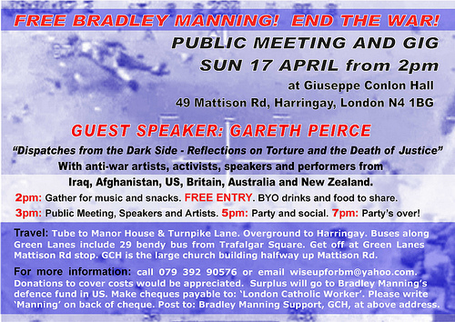 London Catholic Worker event for Bradley Manning 17th April (back)
