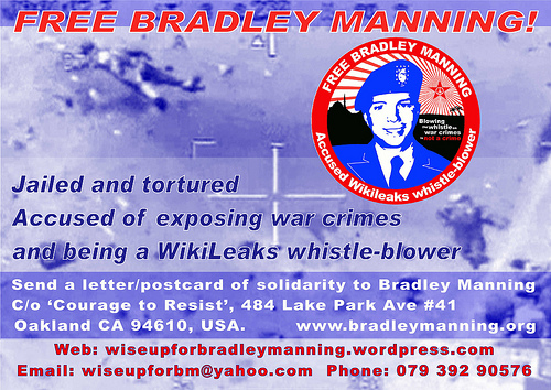 London Catholic Worker event for Bradley Manning 17th April (front)
