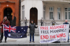 Clara and others at the vigil for Assange