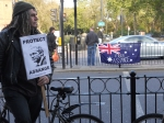 Assange supporter at the Oval