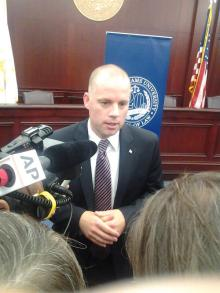 MANNING coombs talking to press at RWU