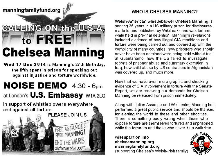 Happy Birthday Chelsea Manning Report From Noise Demo At The Us