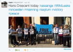 The Julian Assange and WikiLeaks Solidarity Vigil  at work outside the Ecuadorian Embassy in London June 16th 2015
